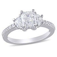 Allura 1.45 CT. T.W. Radiant, Half Moon and Round-Cut Diamond Three Stone Engagement Ring in 14k White Gold