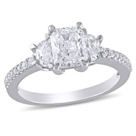 Allura 1.45 CT. T.W. Radiant, Half Moon and Round-Cut Diamond Three Stone Engagement Ring in 14k White Gold