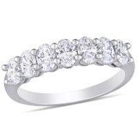 Allura 1.28 CT. T.W. Oval-Cut Diamond Semi-Eternity Anniversary Ring in 14k White Gold