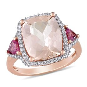 Allura 4.94 CT Morganite, Pink Tourmaline and 0.33 CT Diamond Three-Stone Halo Cocktail Ring in 14k Rose Gold