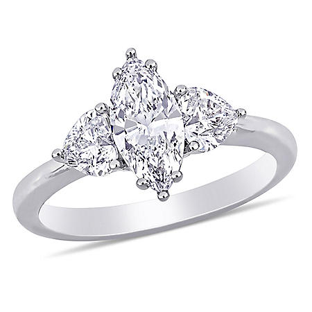 Allura 1.75 CT. T.W. Marquise and Heart Diamond Engagement Ring in 18K White Gold