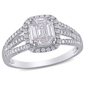 Allura 0.79 CT. T.W. Emerald, Parallel Baguette and Round Diamond Triple-Row Halo Engagement Ring in 18k White Gold