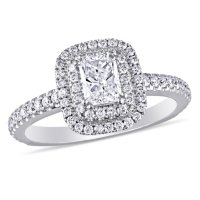 Allura 0.95 CT. T.W. Radiant and Round Diamond Double Halo Engagement Ring in 14k White Gold