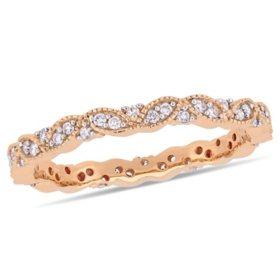 0.25 CT. T.W. Diamond Leaf Eternity Ring in 14k Gold