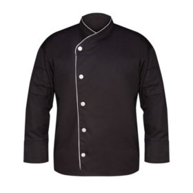 Executive Chef Coat with Slanted Front in Black with White Piping (2 Pack) - Choose a size