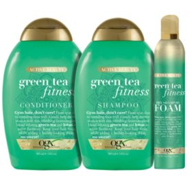 OGX Active Beauty + Green Tea Fitness Shampoo, Conditioner and Dry Shampoo Foam Bundle