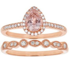 S Collection Pear Shaped Morganite Diamond Halo Ring Set in 14K Rose Gold