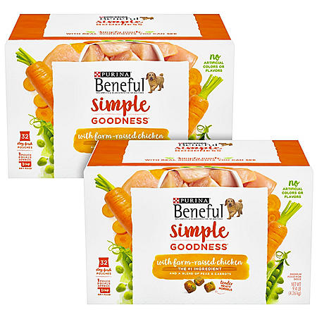 Purina Beneful Simple Goodness with Farm-Raised Chicken Adult Tender Morsels Dog Food (64 Stay-Fresh Pouches)