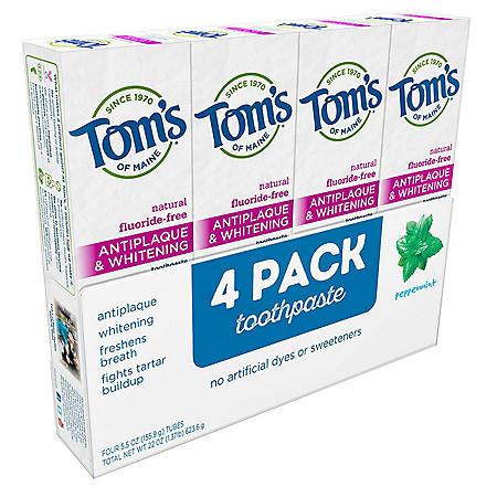 Tom's Antiplaque & Whitening Fluoride-Free Peppermint Toothpaste (5.5 oz., 4 pk.)
