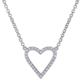 "0.5 CT. T.W. Natural White Sapphire Open Heart Necklace in Sterling Silver, 16"" plus 2"" extender"