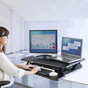 "Seville Classics AIRLIFT 30.3"" Pneumatic Standing Desk Riser Converter"