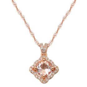 Round Morganite Pendant with Diamond in 14 Karat Rose Gold