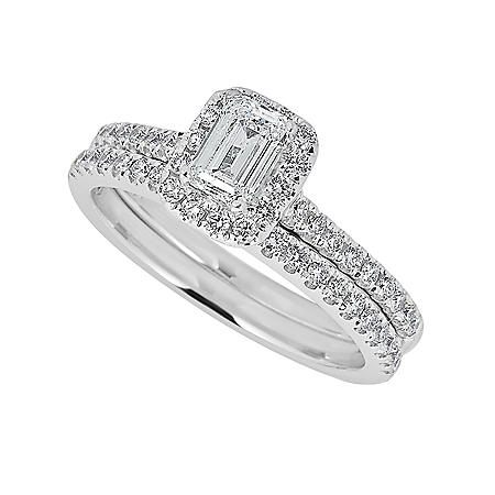 1.03 CT. T.W. Emerald-Cut with Halo Diamond Engagement Ring Set in 14K White Gold (HI, I1)