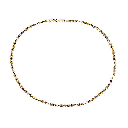 """14K Yellow Gold Hollow Rope Necklace, 20"""""""