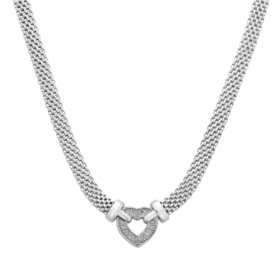 0.12 CT. T.W. Diamond Heart Necklace in Italian Sterling Silver