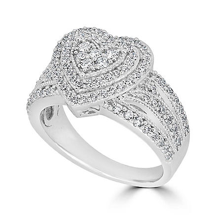 0.99 CT T.W. Double Halo Diamond Heart Ring in 14K White Gold (HI, I1)
