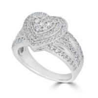 0.99 CT T.W. Double Halo Diamond Heart Ring in 14K White Gold (HI, I1)