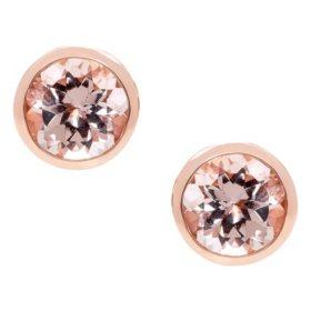 Morganite Bezel 14K Rose Gold Earrings