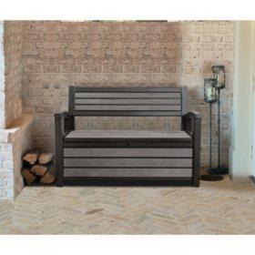 Brilliant Keter Hudson Plastic Storage Bench 60 Gallon Deck Box Machost Co Dining Chair Design Ideas Machostcouk