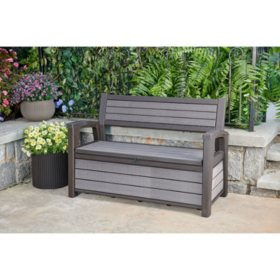 Keter Hudson Plastic Storage Bench 60 Gallon Deck Box