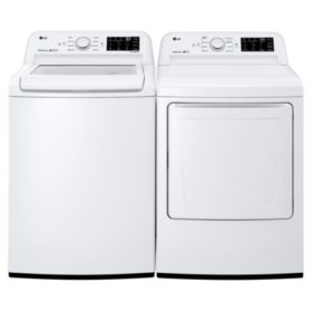 LG - WT7100CW, DLE7100W / DLG7101W - Ultra Capacity Top Load Washer and Dryer (Gas / Electric) Suite - White - (Select Fuel Type)