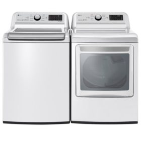 LG - WT7300CW, DLE7300WE / DLG7301WE - Ultra Capacity Top Load Washer and Dryer (GAS / ELECTRIC) Smart Wi-Fi Enabled Suite - White - (Select Fuel Type)