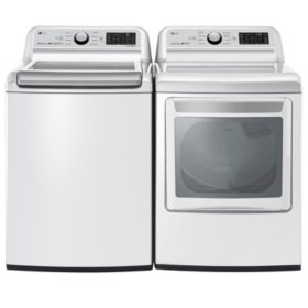 LG 5.0 cu.ft. Top Load Washer & 7.3 cu. ft. Gas Dryer - White