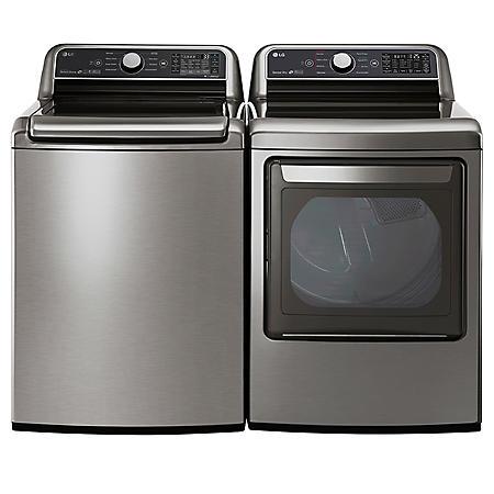 LG 5.0 cu.ft. Top Load Washer & 7.3 cu. ft. Dryer - Graphite Steel