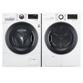 LG - WM1388HW, DLEC888W - Compact FL Washer and Stackable Ventless Condensing Dryer - White
