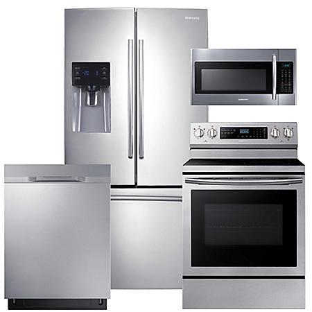 SAMSUNG 25.6 Cu. Ft. 3-Door French Door Refrigerator, Electric Range, Mircowave, and Dishwasher Package - Stainless Steel - RF263BEAESR, ME18H704SFS, NE59N6630SS, DW80K5050US