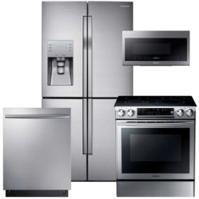 SAMSUNG Counter-Depth Refrigerator with FlexZone, Electric Range, Mircowave, and Dishwasher Package - Stainless Steel - RF23J9011SR, NE58F9500SS, DW80K7050US, ME21M706BAS