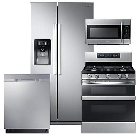 SAMSUNG 24.5 Cu. Ft. Side-by-Side Refrigerator,  FlexDuo™ with Dual Door Gas Range, Mircowave, and Dishwasher Package - Black Stainless Steel - RS25J500DSR, NX58M6850SS, DW80K5050US, ME18H704SFS