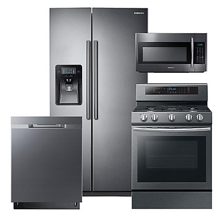 SAMSUNG 24.5 Cu. Ft. Side-by-Side Refrigerator,  Gas Range, Microwave, and Dishwasher Package - Black Stainless Steel - RS25J500DSG, NX58M6630SG, DW80K5050UG, ME18H704SFG