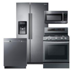 SAMSUNG 24.5 Cu. Ft. Side-by-Side Refrigerator,  Gas Range, Microwave, and Dishwasher Package - Black Stainless Steel - RS25J500DSG, NX58M6630SG, DW80K5050UG, ME18H704SFG