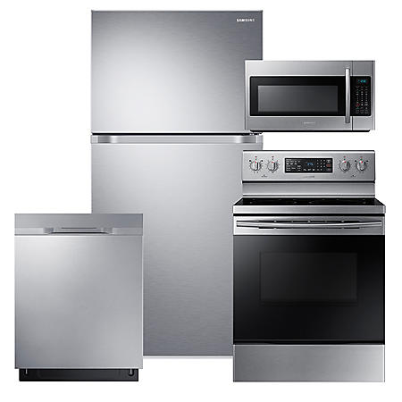 SAMSUNG 18 Cu. Ft. Top Freezer Refrigerator with FlexZone™,  Electric Range, Microwave, and Dishwasher Package - Stainless Steel - RT18M6215SR, NE59M4320SS, DW80K5050US, ME18H704SFS