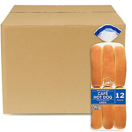 Lewis Bake Shop Cafe Hot Dog Buns - Frozen, Bulk Wholesale Case (96 ct.)