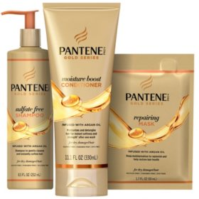 Pantene Gold Series Sulfate Free Shampoo, Moisture Boost Conditioner and Hair Repairing Mask