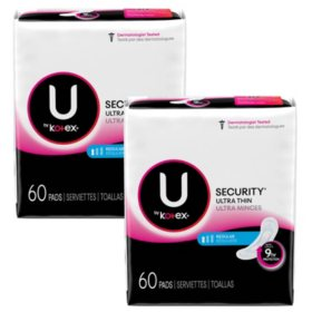 U by Kotex Security Ultra Thin Pads, Regular, Unscented (120 ct.)