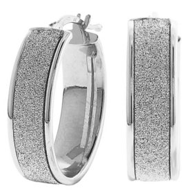 925 Sterling Silver Italian Oval Glitter Hoop