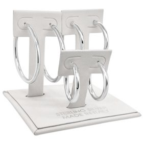 Sterling Silver Italian High Polish Hoop Box Set Earrings