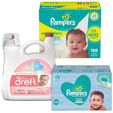 Pampers Swaddlers Diaper, Wipe and Dreft Bundle (Choose Your Size)