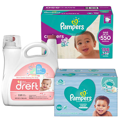 Pampers Cruisers Diaper, Wipe and Dreft Bundle (Choose Your Size)