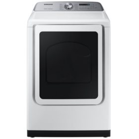 SAMSUNG 7.4 cu. ft. Top Load  Dryer with Steam Sanitize+, White - DVE50R5400 / DVG50R5400 (Choose: Color / Fuel Type)
