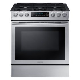 SAMSUNG 5.8 cu. ft. Slide-in Gas Range with Fan Convection - Stainless Steel - NX58M9420SS