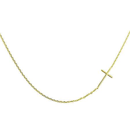 """14K Gold Sideways Cross Necklace, 18"""""""