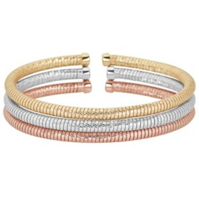 Italian Sterling Silver and 18K Gold Plated Diamond Cut Bangle Set