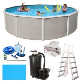 """Barcelona Deluxe Complete 15' Round 52"""" Deep Metal Wall Pool Package"""