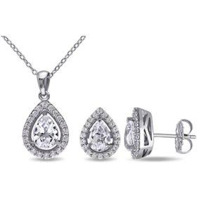 Created Gemstone Teardrop Halo Pendant and Stud Earrings Set in Sterling Silver