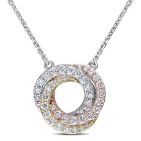 0.50 CT. T.W. Diamond Knot Necklace in 14K Tri-Color White, Yellow and Rose Gold