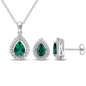 Created Gemstone Teardrop Halo Pendant and Stud Earrings Set in Sterling Silver